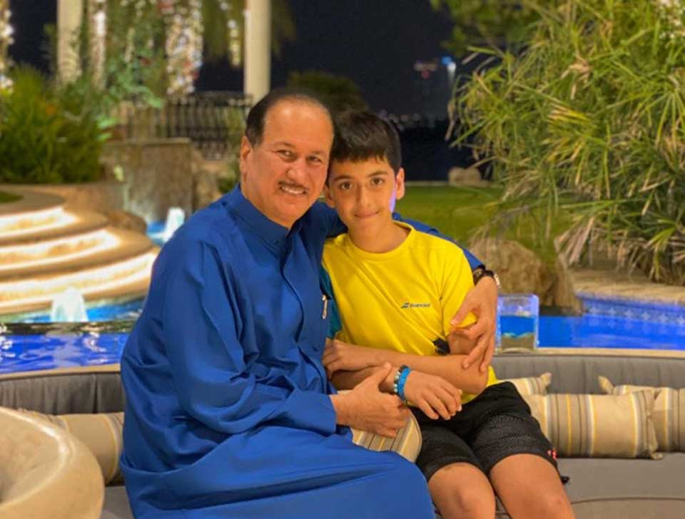 Enjoying a winter evening at home in Dubai with my youngest son, Mehdi